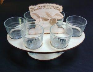 Drveni stalak sa 6 čašica-0