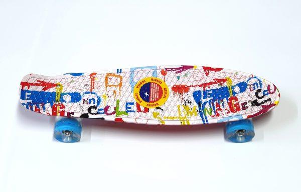Penny Board skate M15 svijetleći kotači - šareni-bijeli-0